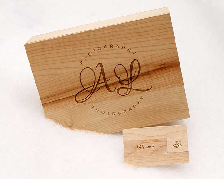 Small engraved boxed USB's and larger keepsake boxes