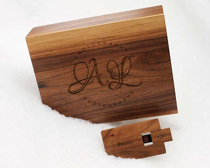 Small engraved boxed USB
